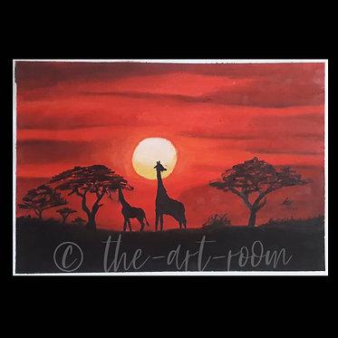 Giraffes in the dusk
