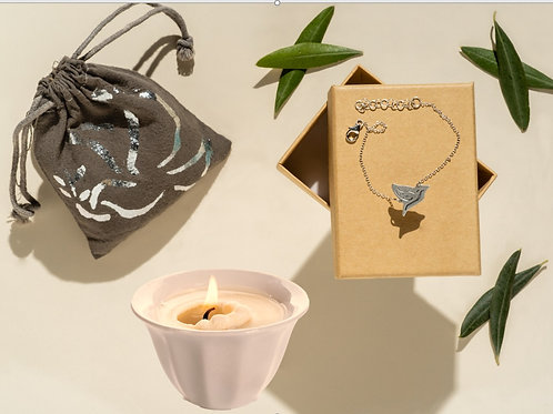 From Galilee to you -Dove decor Galilee herbs scented sachet & Bracelet& candle