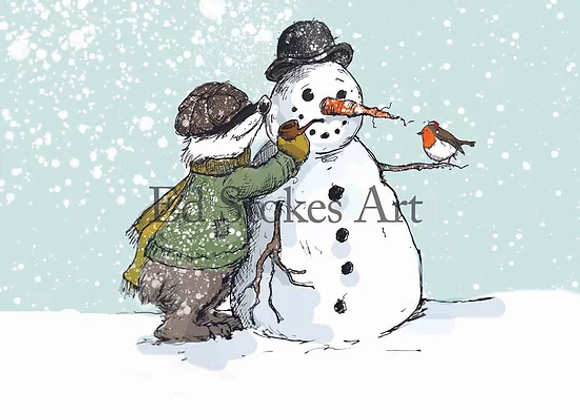 Badger and the Snowman Card