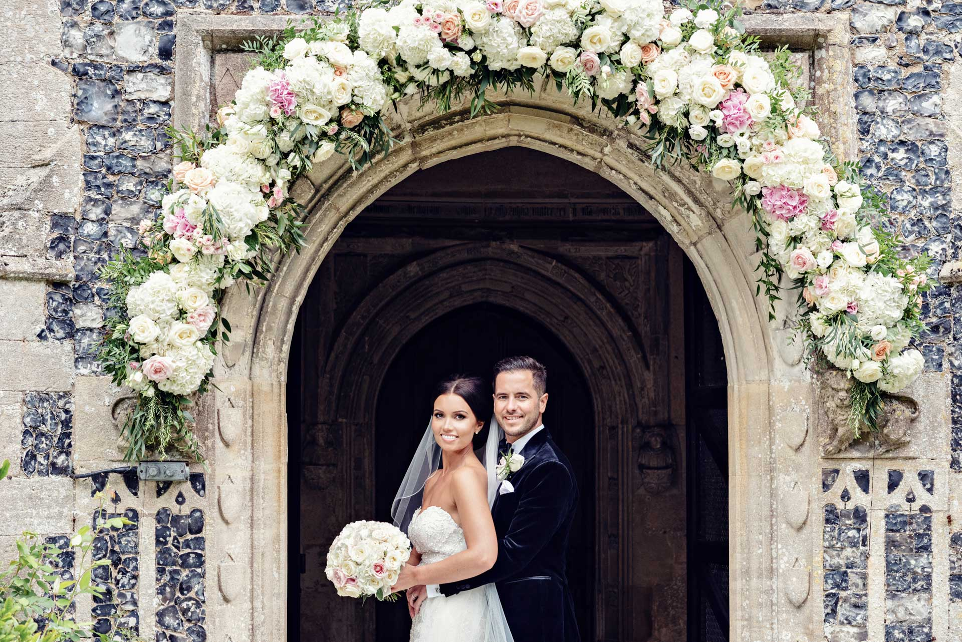 A simply amazing floral arch at Hengrave's gorgeous chapel.