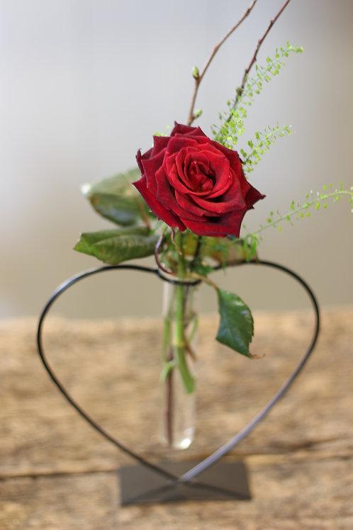 Valentines Heart Vase & Rose