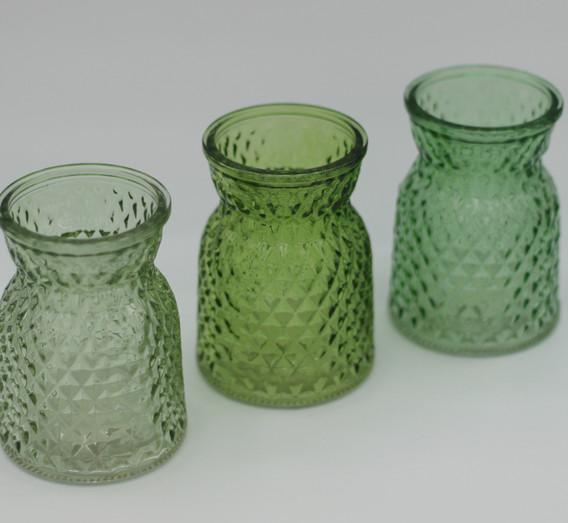 Trio green textured jars mini