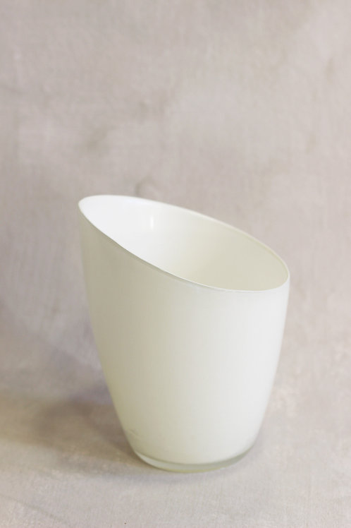 Slanted glass pot