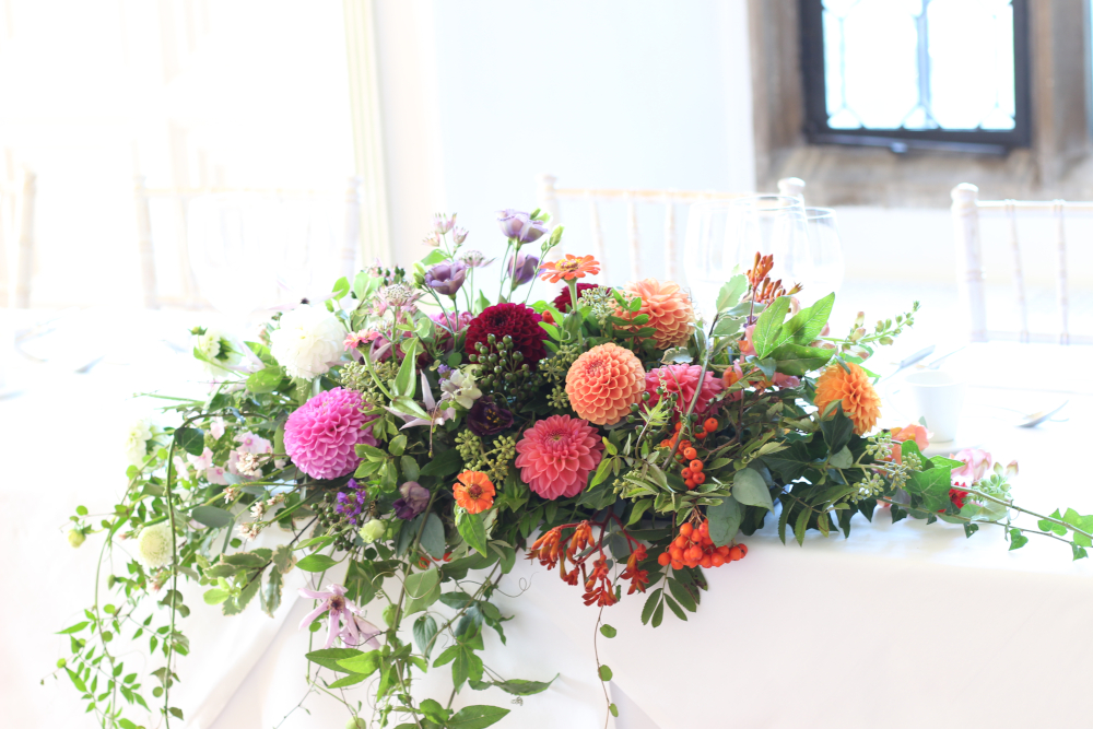 Autumn top table arrangement