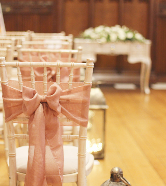 Rose gold linen chair sash