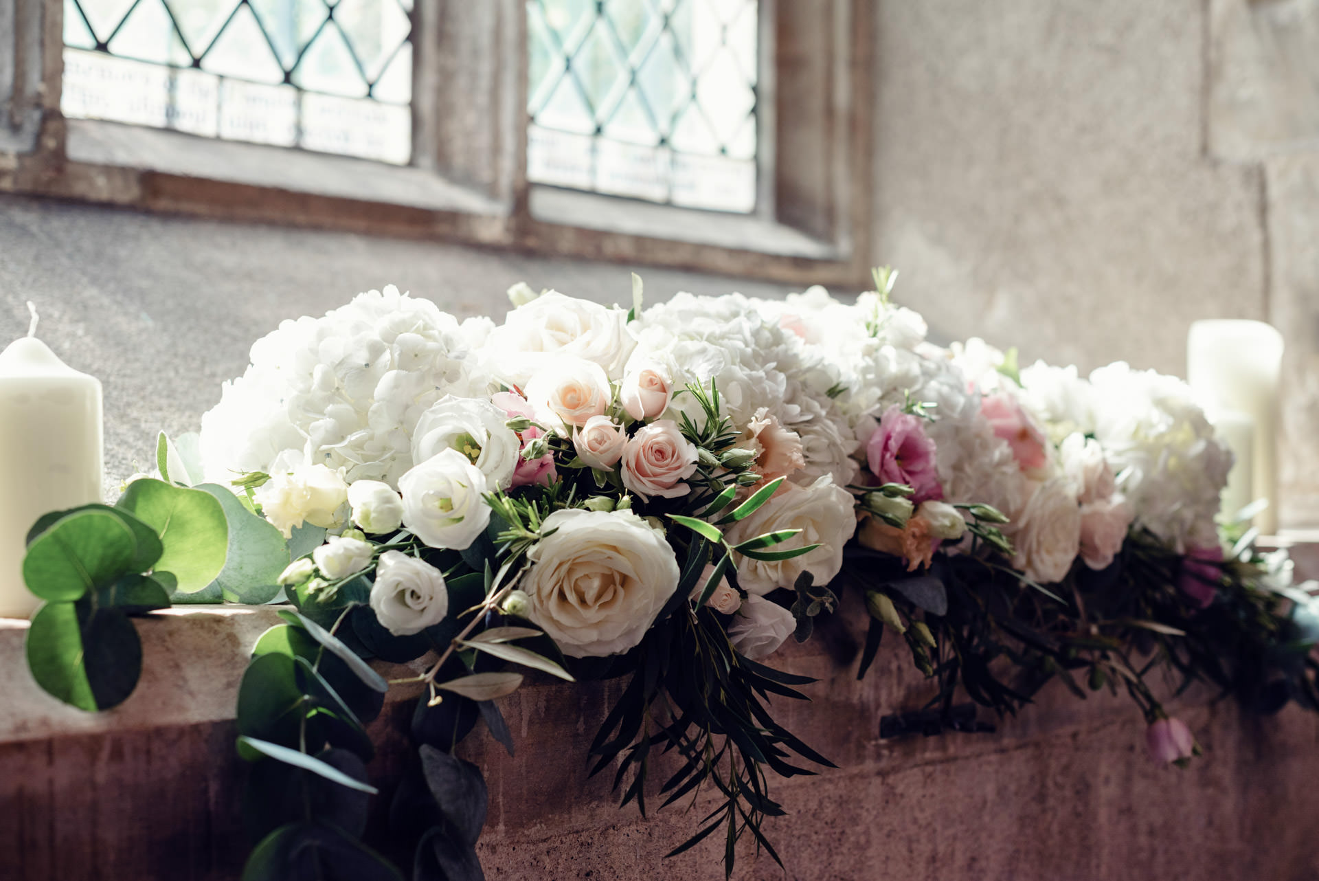 Gorgeous windowsill arrangements in the chapel at Hengrave Hall.
