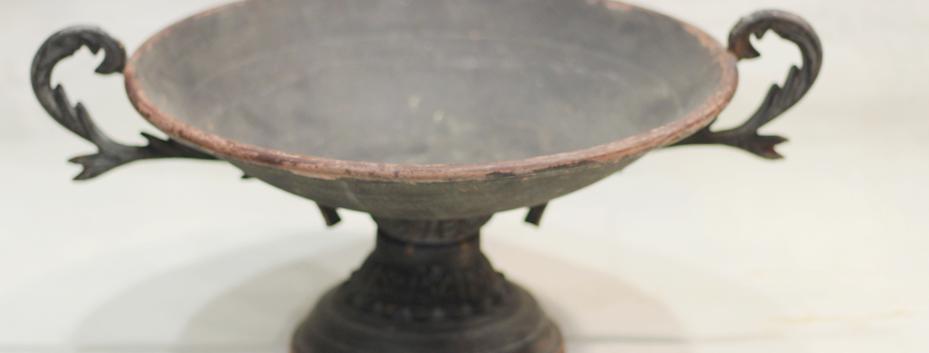 Black rustic flat urn
