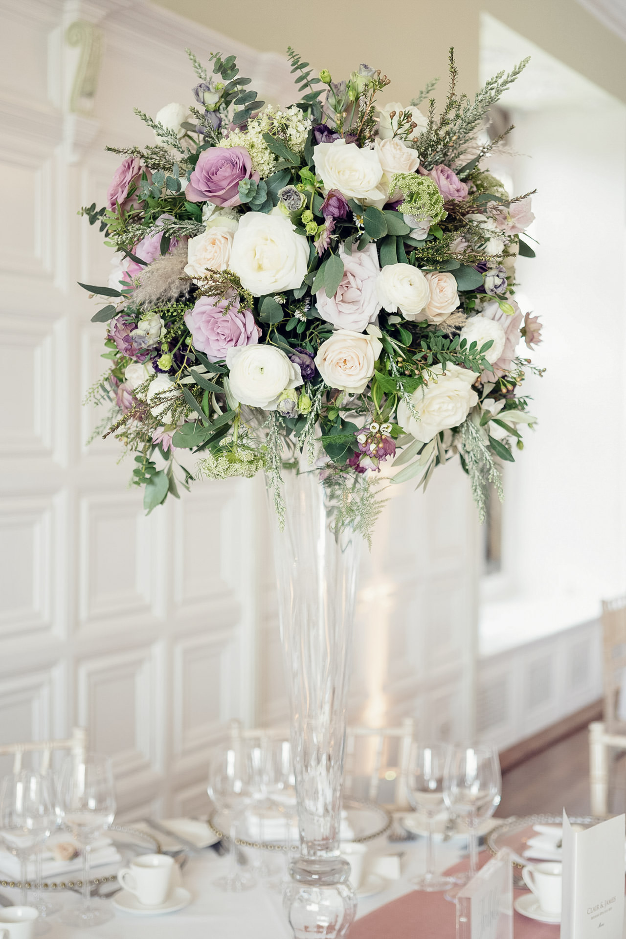 Luscious tall table designs at Hengrave Hall