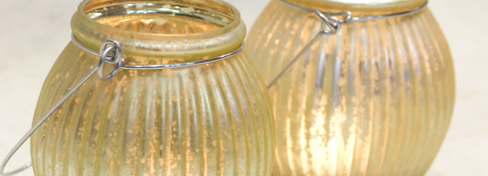 Gold and Silver Glass tealight holder