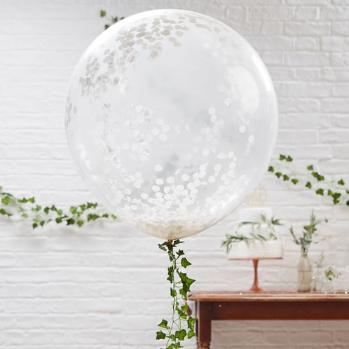 Large White Confetti Balloon