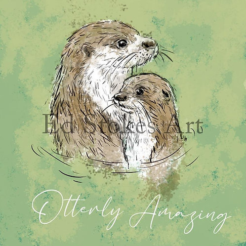Otter and Cub Card