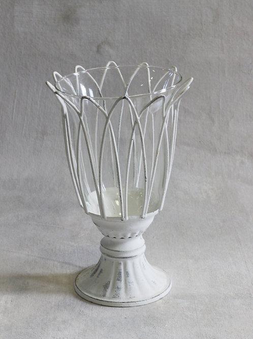 Rustic fluted metal vase