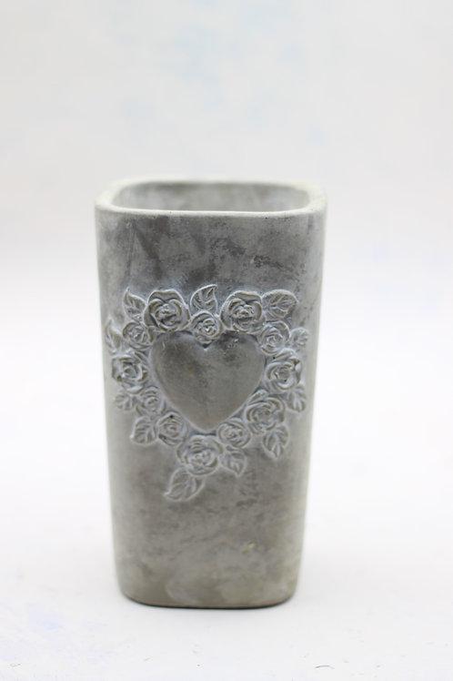 Vintage Rose Heart Vase Medium