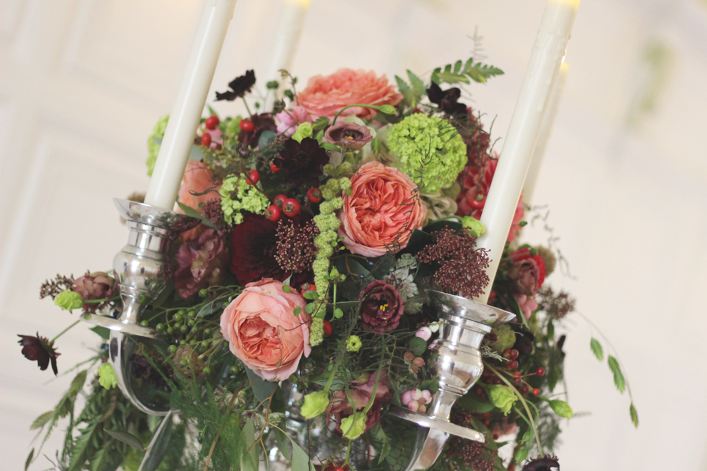 Autumnal candelabra arrangement