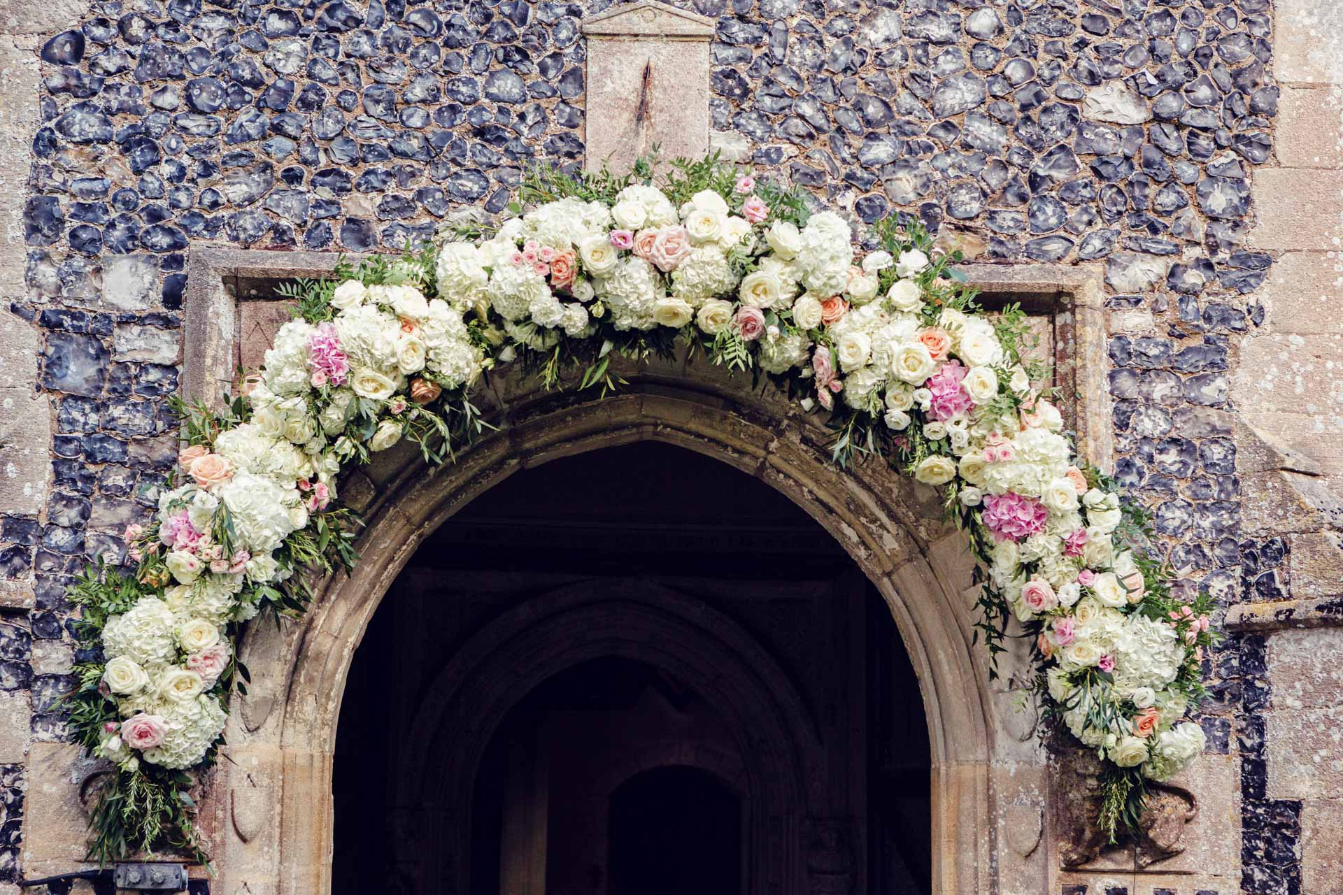 Jayde and Marcus White's floral arch in all its glory.