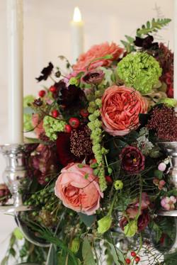 Autumnal candelabra arrangement
