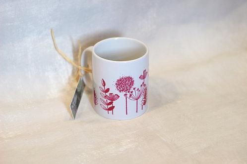 Linen Prints pink flowers Mug