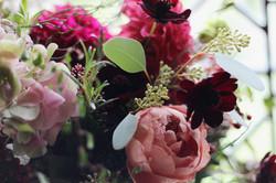 Autumnal bridal bouquet closeup