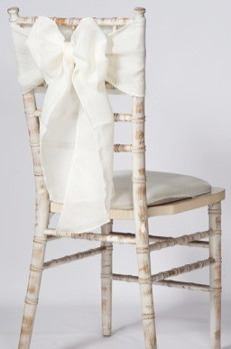 White linen chair sash