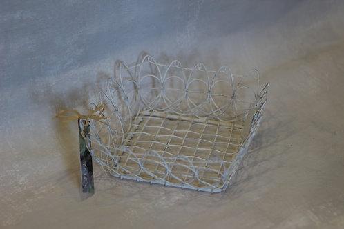 White Rustic Wire Basket