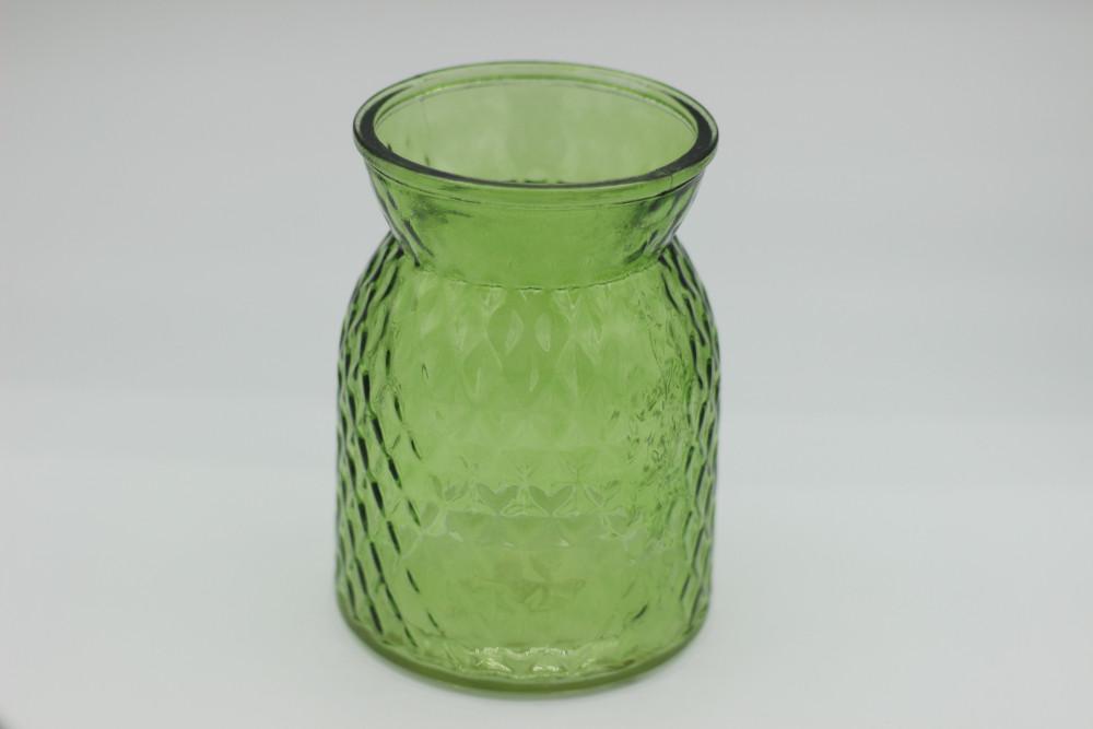 Bottle green textured jar - large