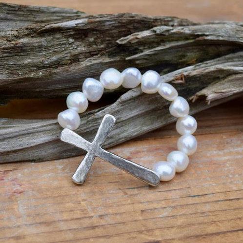 Hammered Pewter Cross Bracelet