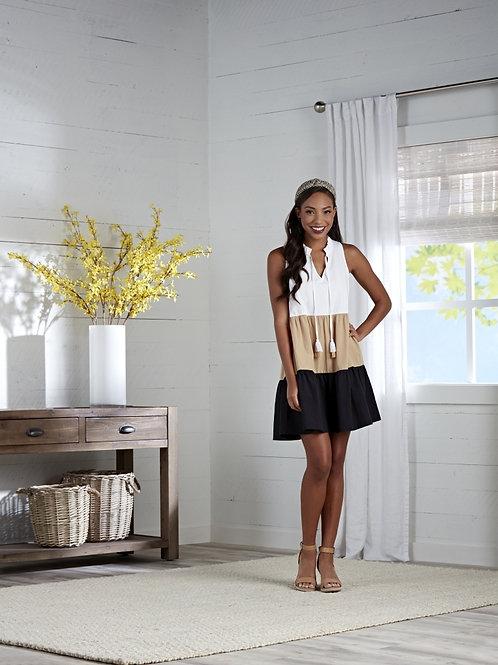 Mckenna Color-Block Dress-Black