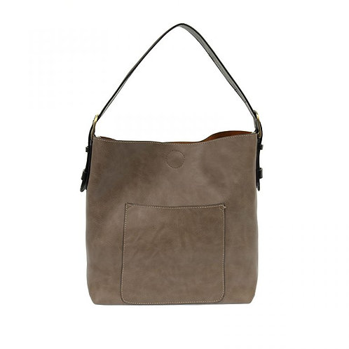 Hobo Handbag -Mushroom w/Black Handle