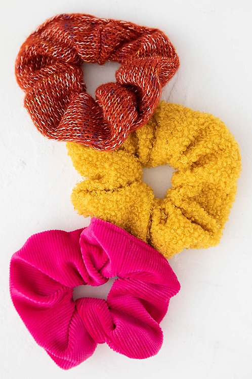 Rust Pink Set of 3 Cozy Scrunchies