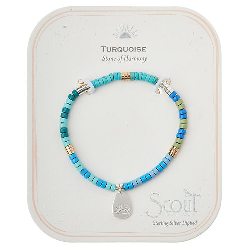 Stone Intention Charm Bracelet - Turquoise/Silver/Gold