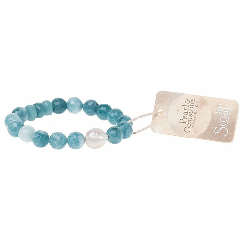 Pearl & Gemstone Bracelet - Sea Blue Agate