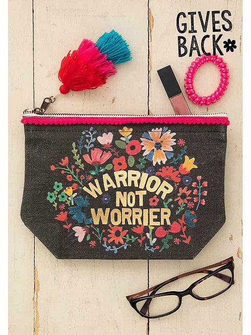 Warrior Not Worrier Canvas Pouch