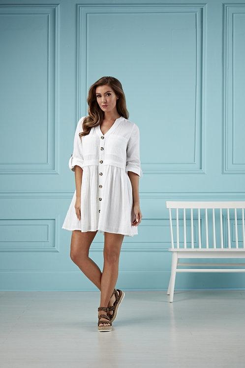 Addison Button Up Dress-White
