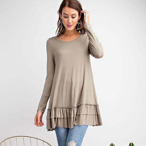 RUFFLE TUNIC-FADED SAGE