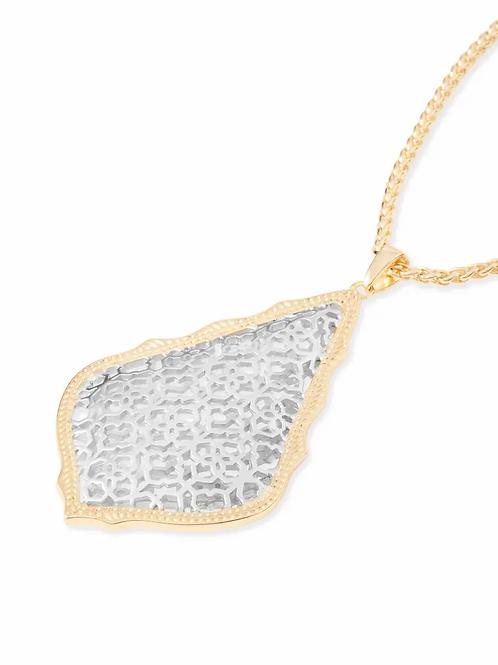 Aiden Rhodium/Gold Mix Long Pendant Necklace