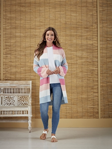 NYLAH STRIPED CARDIGAN-PINK