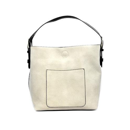 Hobo Handbag -Stone w/Black Handle