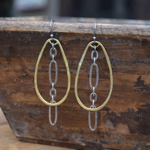 HAMMERED BRASS EARRINGS & OXIDIZED PEWTER CHAIN