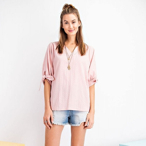 PUFF SLEEVES TEXTURED V NECK TOP-CORAL