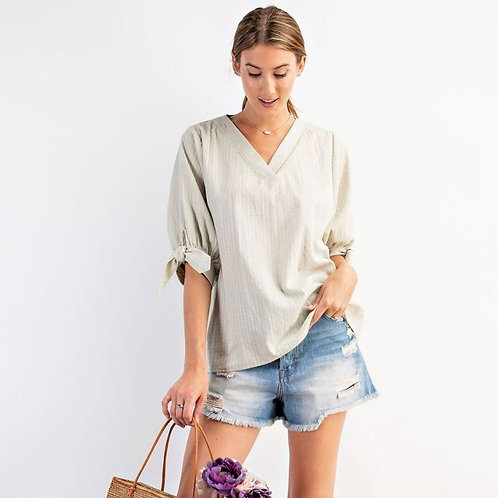 PUFF SLEEVES TEXTURED V NECK TOP-SAGE