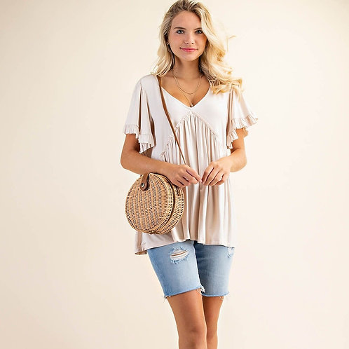 RUFFLE JERSEY TOP-ALMOND