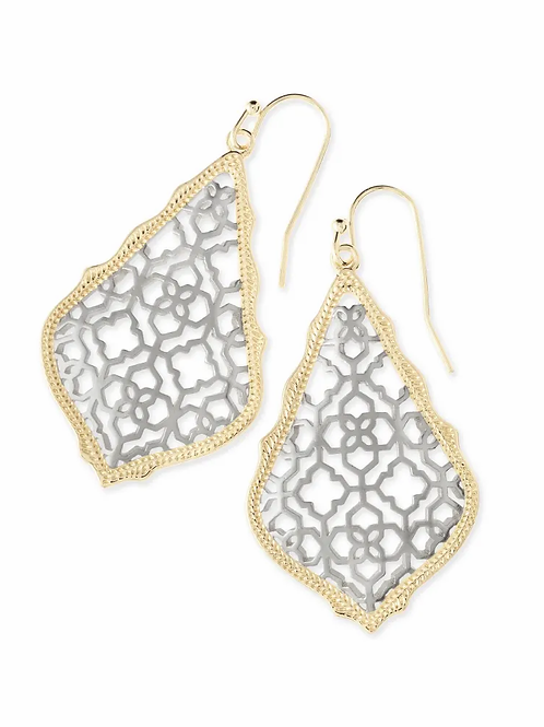 Addie Drop Earrings-Gold/Rhodium Filigree Mix