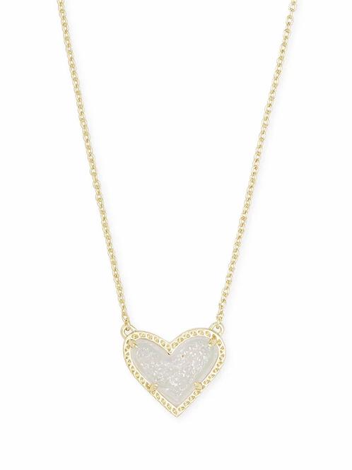 Ari Heart Gold Pendant Necklace In Iridescent Drusy