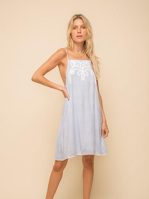 LACE TRIMMED STRIPE SWING DRESS