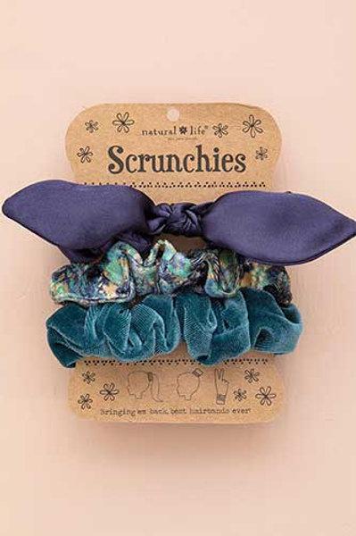 Navy Bow Scrunchie Set of 3