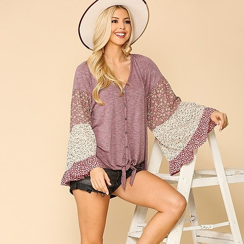 Knit Mixed Bell Sleeves Top-Berry