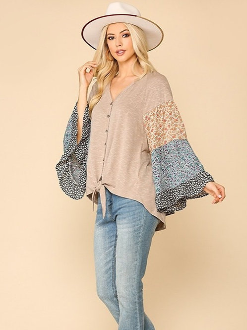 Knit Mixed Bell Sleeves Top-Sand