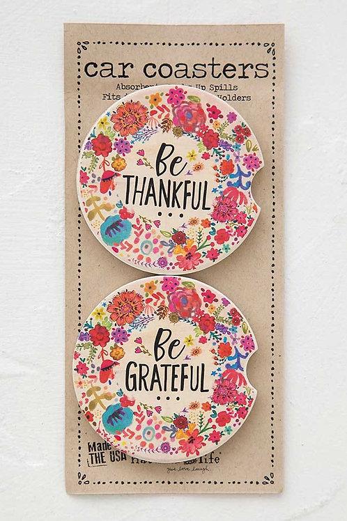 Thankful Grateful Car Coasters