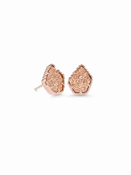 Tessa Rose Gold Stud Earrings In Rose Gold Drusy