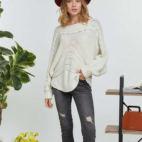 CABLE PATTERN ACCENT SWEATER